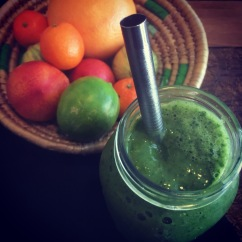 Banana, spinach, and frozen fruit green smoothie